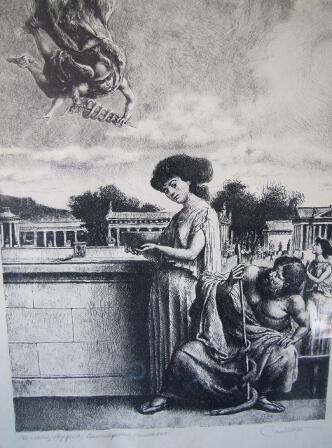 Original French Engraving Print Greek Gods of Medicine Signed by Artist Castello