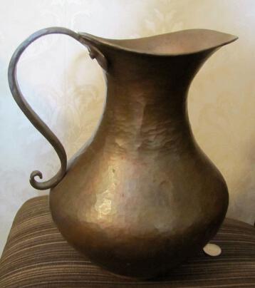 Vintage Solid Copper Large Pitcher Ewer Hand Made Hammered Arts & Crafts