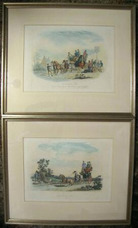 Pair Antique Prints Fores NEWHOUSE Aquatint 1845 -- Roadsters Coach Scenes