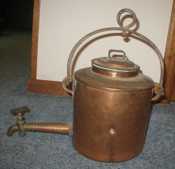 Antique Georgian Inglenook Copper Kettle Stock Pot w/Brass Dispenser