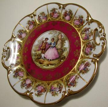 Karlsbader Carlsbad Germany Porcelain Charger Plate w/handles and gold
