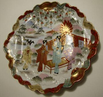 Old Kutani Japanese Porcelain Geisha Girls Oyster Serving Plate with Handles Signed