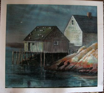 Oil Pastel Original Landscape Painting Dock Fishing Pier Signed Larkin 1973