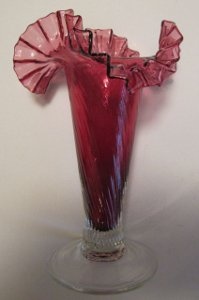 Murano Art Glass Vase Cranberry and Clear Ruffled Top Unusual