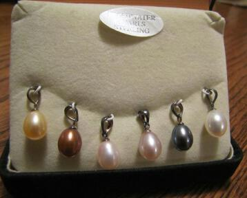Multi Genuine Pearl Drop Pendants Sterling Silver Set of 6