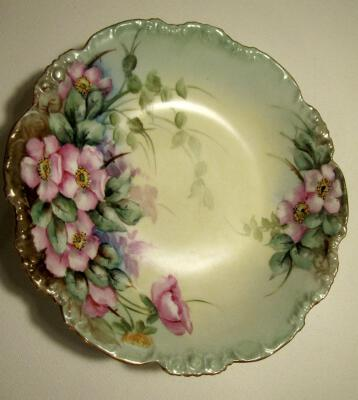 Antique Pouyat Limoges Hand Painted Porcelain Bowl Floral 1890