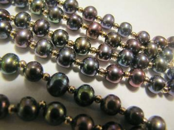 Black Peacock Genuine Cultured Pearl Necklace and Bracelet 14K Gold Beads