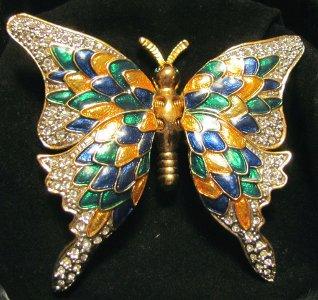 Enamel Rhinestone Butterfly Pin Brooch Trembler