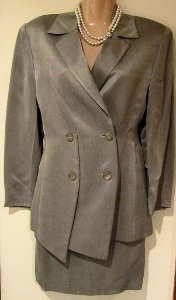 Byblos Italy Silk Dress Suit Oyster Jacket Skirt