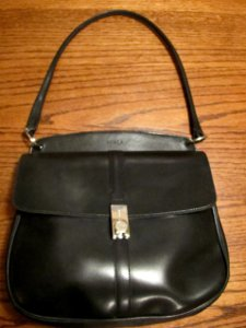 Genuine Furla Black Leather Handbag Shoulder with locking latch