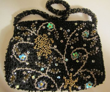 Vintage Moyna Beaded Purse Hand Evening Bag Black with Sequins Floral Design